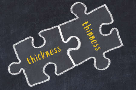 Concept of dealing with troubles. Chalk sketch of connecting puzzles with words thickness and thinness.