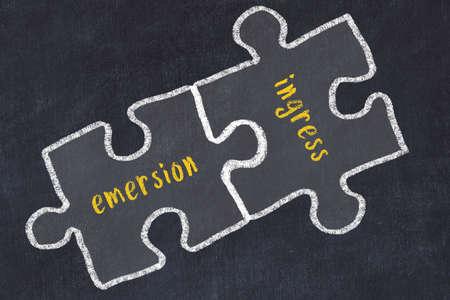 Chalk drawing of two puzzles with words emersion and ingress. Concept of solving problems