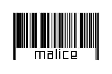 Barcode on white background with inscription malice below. Concept of trading and globalization Imagens