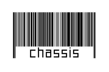 Barcode on white background with inscription chassis below. Concept of trading and globalization Zdjęcie Seryjne