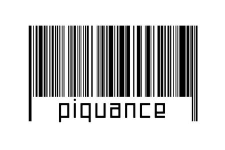 Barcode on white background with inscription piquance below. Concept of trading and globalization 版權商用圖片