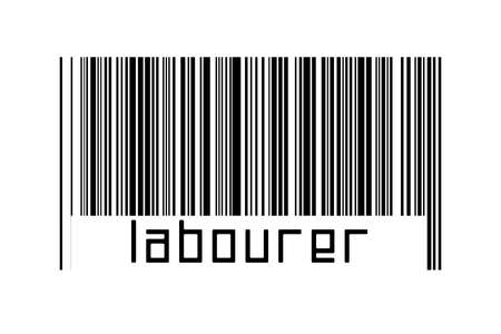 Digitalization concept. Barcode of black horizontal lines with inscription labourer below. 版權商用圖片