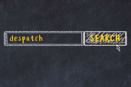 Drawing of search engine on black chalkboard. Concept of looking for despatch