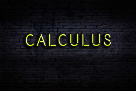 Neon sign with inscription calculus against brick wall. Night view