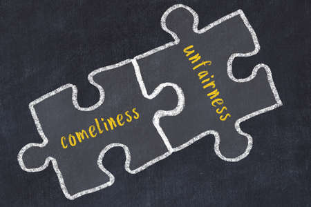 Concept of dealing with troubles. Chalk sketch of connecting puzzles with words comeliness and unfairness.