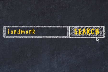 Concept of searching landmark. Chalk drawing of browser window and inscription 版權商用圖片