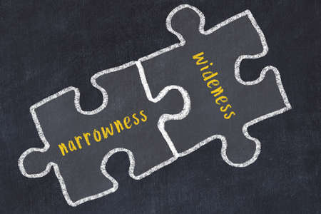 Ploblem solving. Chalk sketch of two puzzles with words narrowness and wideness on black chalkboard