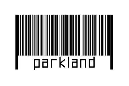Digitalization concept. Barcode of black horizontal lines with inscription parkland below. 版權商用圖片