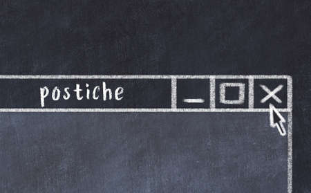 Closing browser window with caption postiche. Chalk drawing. Concept of dealing with trouble