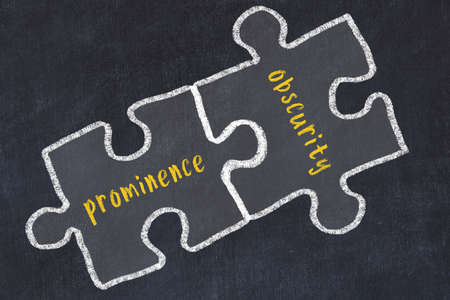 Concept of dealing with troubles. Chalk sketch of connecting puzzles with words prominence and obscurity. Stock Photo