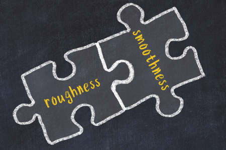 Concept of dealing with troubles. Chalk sketch of connecting puzzles with words roughness and smoothness.