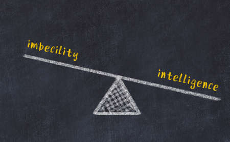 Balance between imbecility and intelligence. Chalkboard drawing on black chalkboard Stock fotó