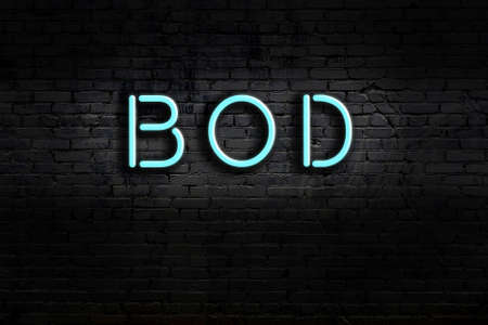 Neon sign with inscription bod against brick wall. Night view