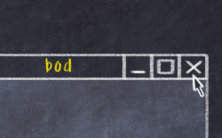 Closing browser window with caption bod. Chalk drawing. Concept of dealing with trouble