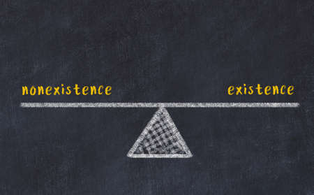 Chalk drawing of scales with words nonexistence and existence on black board. Concept of balance Stock fotó