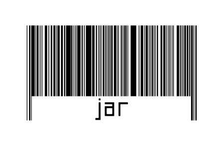 Digitalization concept. Barcode of black horizontal lines with inscription jar below.