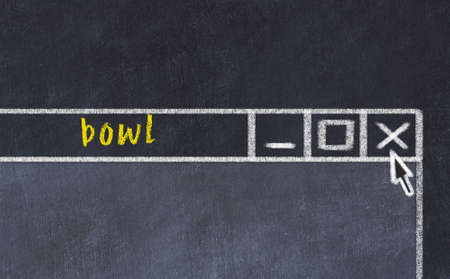 Closing browser window with caption bowl. Chalk drawing. Concept of dealing with trouble