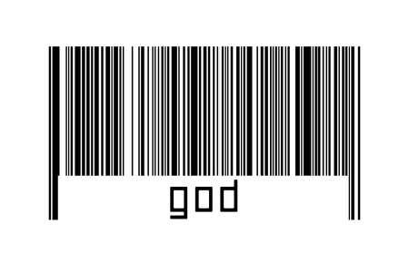Digitalization concept. Barcode of black horizontal lines with inscription god below. Imagens