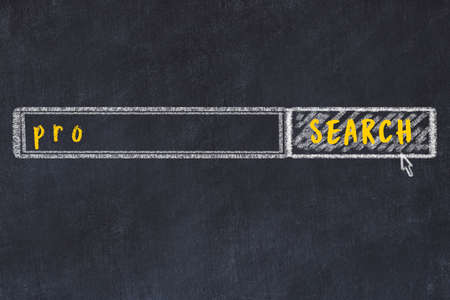 Drawing of search engine on black chalkboard. Concept of looking for pro Imagens