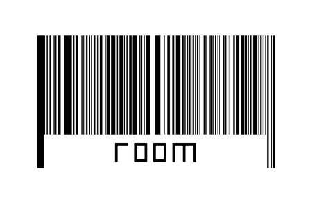Digitalization concept. Barcode of black horizontal lines with inscription room below. 版權商用圖片