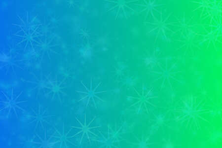 Abstract background with star shaped pattern and dradient transition from blue to green.