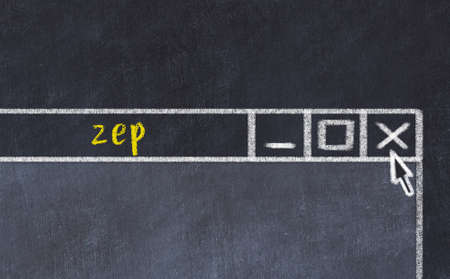 Chalk sketch of closing browser window with page header inscription zep