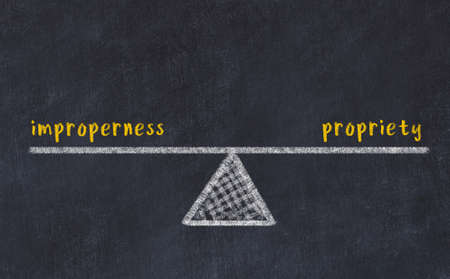 Concept of balance between improperness and propriety. Black chalboard with sketch of scales and words on it