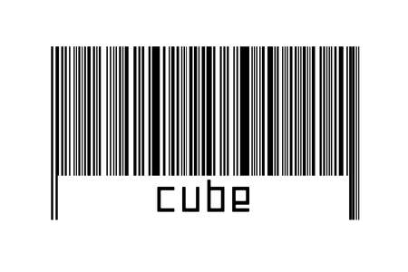 Digitalization concept. Barcode of black horizontal lines with inscription cube below.