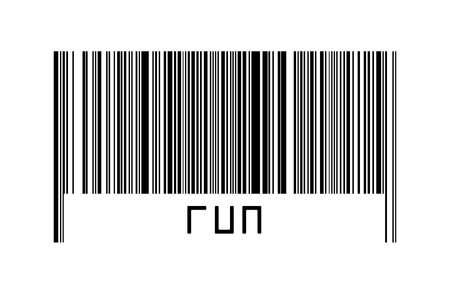 Digitalization concept. Barcode of black horizontal lines with inscription run below. 版權商用圖片