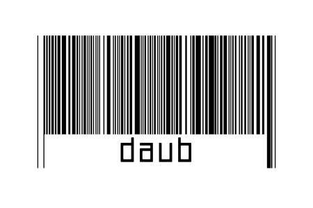 Barcode on white background with inscription daub below. Concept of trading and globalization 版權商用圖片