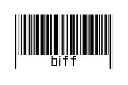 Barcode on white background with inscription biff below. Concept of trading and globalization Imagens