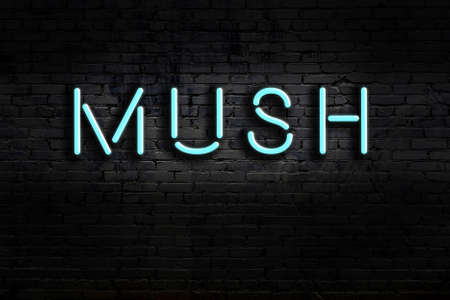 Neon sign with inscription mush against brick wall. Night view