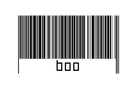 Barcode on white background with inscription boo below. Concept of trading and globalization Imagens