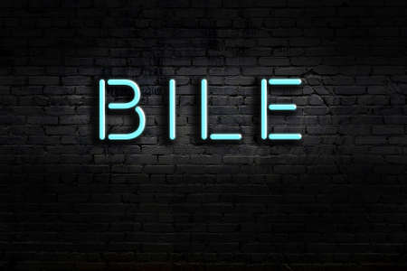 Neon sign with inscription bile against brick wall. Night view