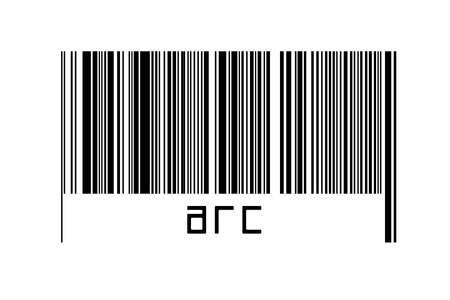 Digitalization concept. Barcode of black horizontal lines with inscription arc below. Imagens