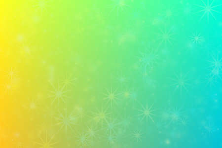 Positive bright abstract background. Blue to yellow transitions and star shaped pattern with bokeh.