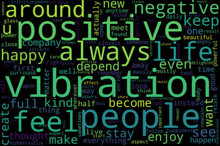 Word cloud of vibration concept on black background.