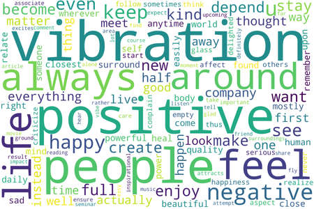 Word tag cloud on white background. Concept of vibration.