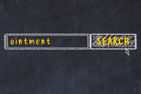 Concept of looking for ointment. Chalk drawing of search engine and inscription on wooden chalkboard Reklamní fotografie