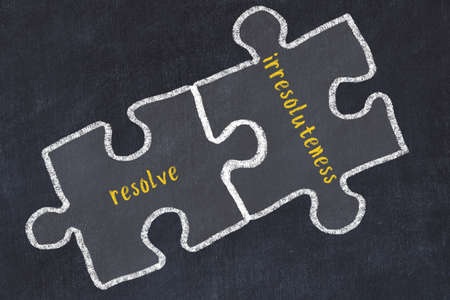 Concept of dealing with troubles. Chalk sketch of connecting puzzles with words resolve and irresoluteness.