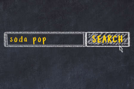 Drawing of search engine on black chalkboard. Concept of looking for soda pop
