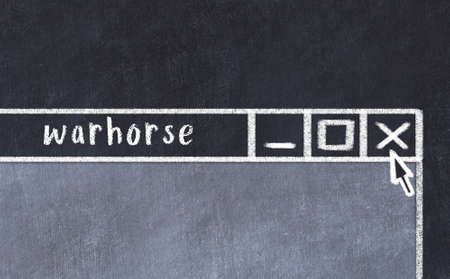 Chalk sketch of closing browser window with page header inscription warhorse