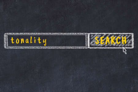 Concept of searching tonality. Chalk drawing of browser window and inscription
