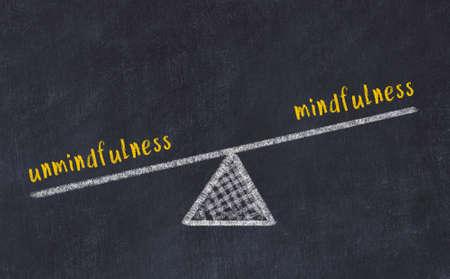 Balance between unmindfulness and mindfulness. Chalkboard drawing on black chalkboard 스톡 콘텐츠