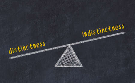 Chalk drawing of scales with words distinctness and indistinctness on black board. Concept of balance