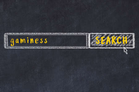 Concept of looking for gaminess. Chalk drawing of search engine and inscription on wooden chalkboard 스톡 콘텐츠