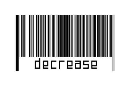 Barcode on white background with inscription decrease below. Concept of trading and globalization
