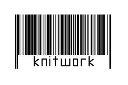 Barcode on white background with inscription knitwork below. Concept of trading and globalization