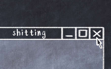 Chalk sketch of closing browser window with page header inscription shitting