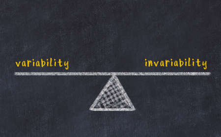 Concept of balance between variability and invariability. Black chalboard with sketch of scales and words on it